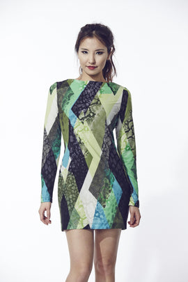 Liquorish Green And Blue Digital Print Evening Dress