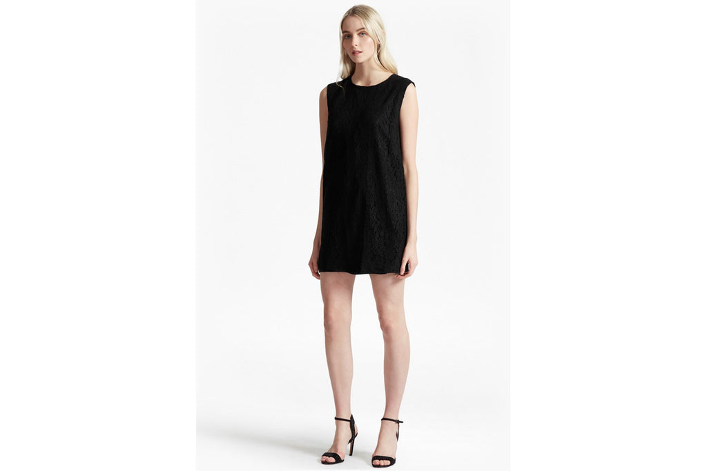 Isabella Lace Shift Dress - black