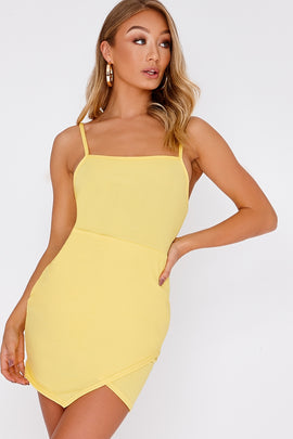 Yellow Dresses - Dessy Yellow Lace Up Back Bodycon Dress