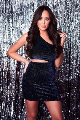 df055c11b94da9 Navy Dresses - Charlotte Crosby Navy Glitter Velvet Asymmetric Cut Out Mini  Dress