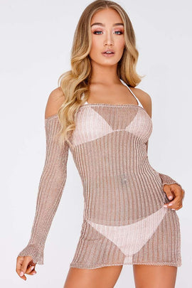 Gold Dresses - Jacinta Rose Gold Metallic Ribbed Bardot Long Sleeve Mini Dress