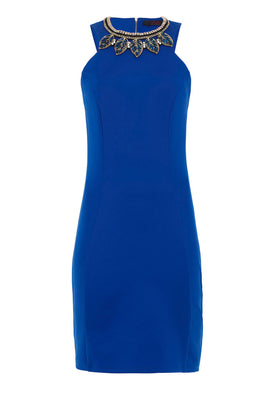 Zibi London Jewel Necklace Bodycon Dress in Blue