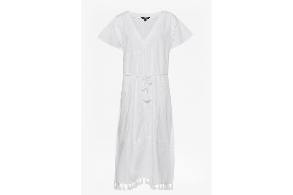 Kaftan Dress - white cotton/ramie