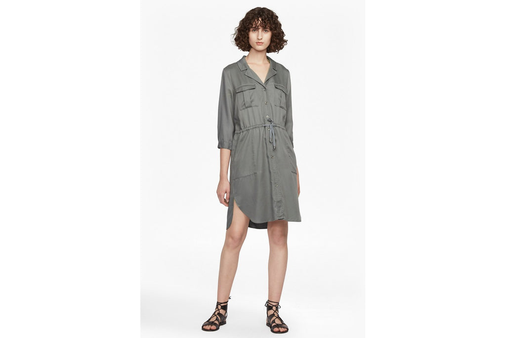 Kruger Tie Waist Shirt Dress - tribal green