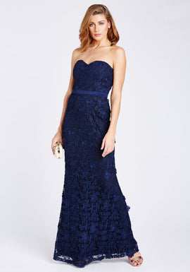 D.Anna Sweetheart Lace Evening Dress With Fishtail Hem