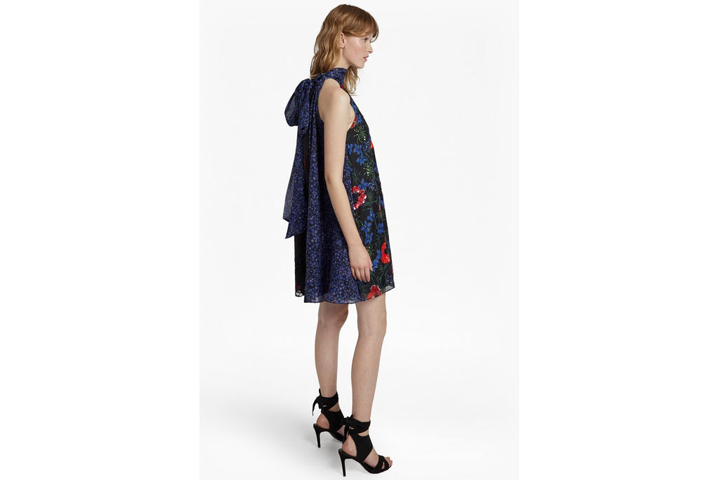 Lisette Halterneck Floral Sequin Dress - black multi
