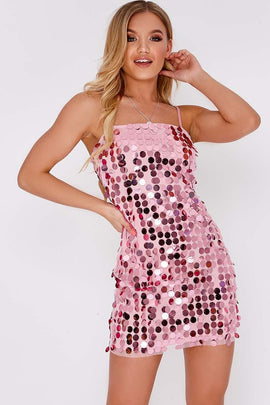 8a02d26976c7 Pink Dresses - Elenee Pink Sequin Strappy Mini Dress. In The Style