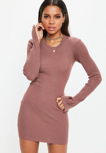 Mocha Long Sleeve Rib Knitted Mini Dress- Brown