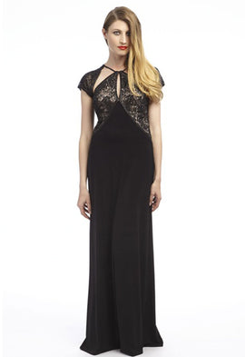 Dynasty Lela Black and Nude Evening Dress
