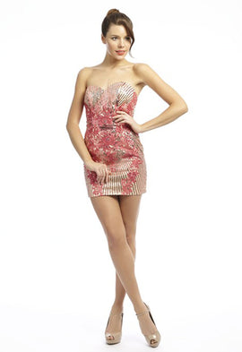 Dynasty Yasmin Fuchsia and Champagne Cutout Back Dress