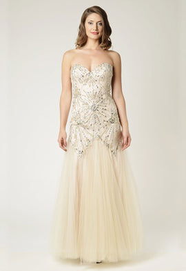 Dynasty Yasmin Champagne Long Evening Dress