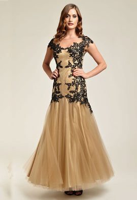 Dynasty Faye Gold and Black Evening Dress