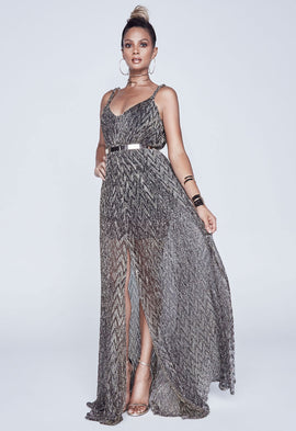 *Available for pre-order* Alesha Dixon Sheer Grecian Maxi Dress