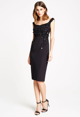 *Available for Pre-Order* LBD Chrissy Floral Embellished Midi Dress