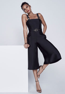 Alesha Dixon Buckle Culottes Jumpsuit in Black