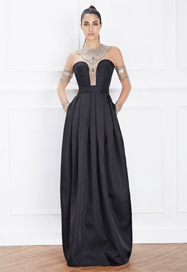 Hemera London Couture Jewel Detail Evening Dress In Black