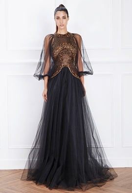 Hemera London Couture Bronze Embellished Tulle Evening Dress