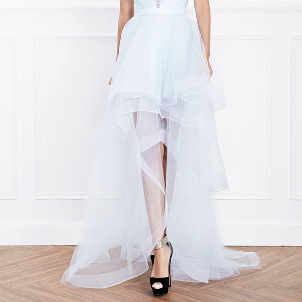 Hemera London Couture Cascading Tulle Evening Dress in Powder Blue