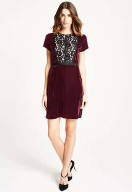 *Available for Pre-Order* LBD Kim Lace and Velvet Mini Dress in Burgundy