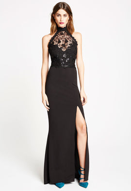 *Available to Pre-Order* LBD Liz Lace Halterneck Maxi Dress