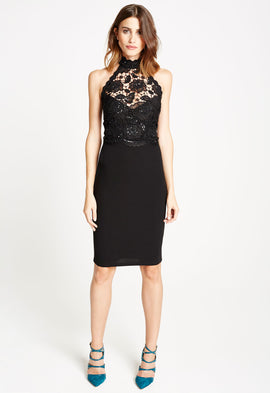 *Available for Pre-Order* LBD Liz Lace Halterneck Midi Dress
