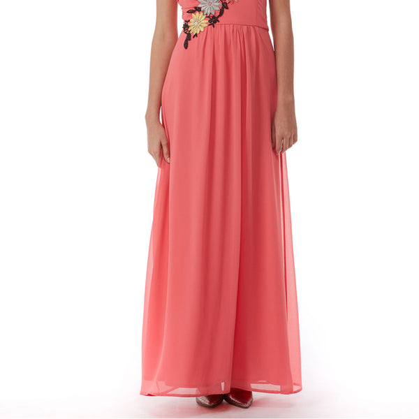 Elise Ryan One-Shoulder Maxi Dress With Floral Trim In Coral