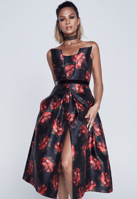 Alesha Dixon Rose Print Bandeau Dress