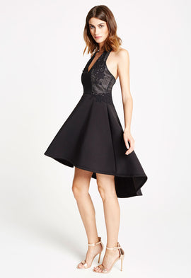 *Available for Pre-Order* LBD Sophie Dip-Hem Halterneck Skater Dress