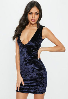 Navy Velvet Sleeveless Plunge Mini Dress- Blue