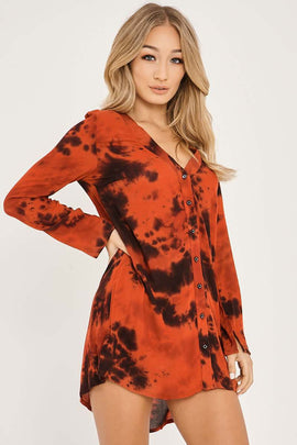 Red Dresses - Charlotte Crosby Red Tie Dye Shirt Dress