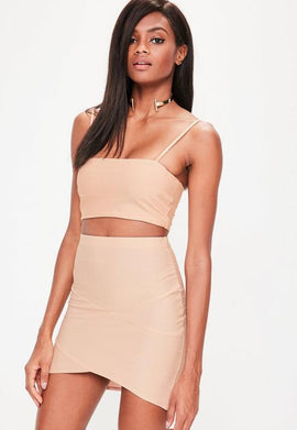 Nude Bandage Asymmetric Mini Skirt- Beige