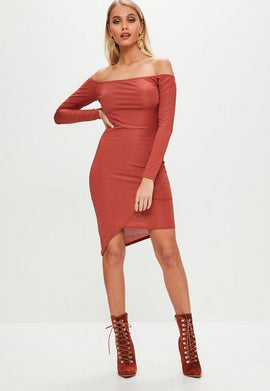 Orange Rib Bardot Bodycon Dress- Brown