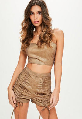 Petite Gold Metallic Co-ord Short- Gold