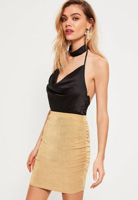 Petite Gold Ruched Slinky Mini Skirt- Gold