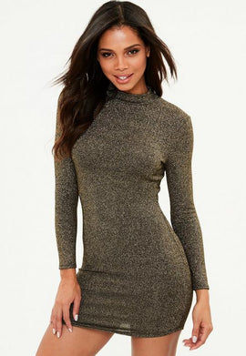 PETITE METALLIC HIGH NECK DRESS- Gold