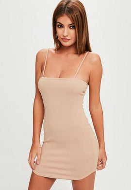 Petite Nude Bandeau Strappy Crepe Dress- Pink