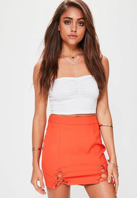 Petite Orange Double Lace Up Mini Skirt- Orange