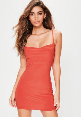 Petite Orange Slinky Cowl Neck Mini Dress- Orange