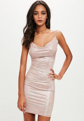 Petite Pink Slinky Cowl Neck Metallic Dress- Gold