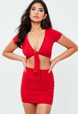 Petite Red Mini Skirt- Red