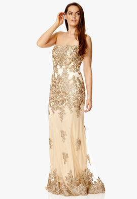 Dynasty London Blair Strapless Lace Maxi Dress in Gold