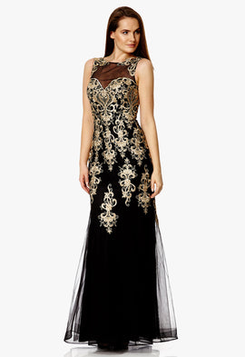 Dynasty London Alina Lace Embroidered Maxi Dress in Black and Gold