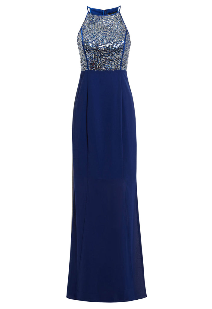 D.Anna Blue Evening Dress With Sequin Embellishment
