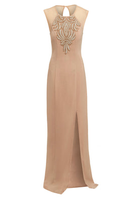 D.Anna Embellished Evening Dress In Gold