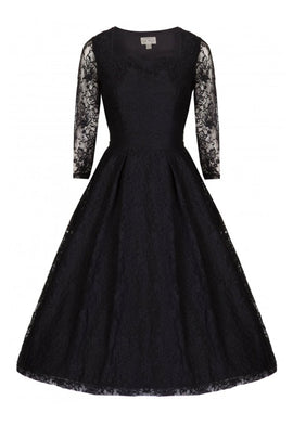 Lindy Bop Lisette Lace Long Sleeve Evening Dress in Black