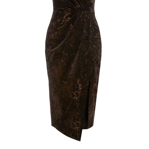 Alesha Dixon Metallic Shimmer Crushed Velvet Halter Wrap Dress