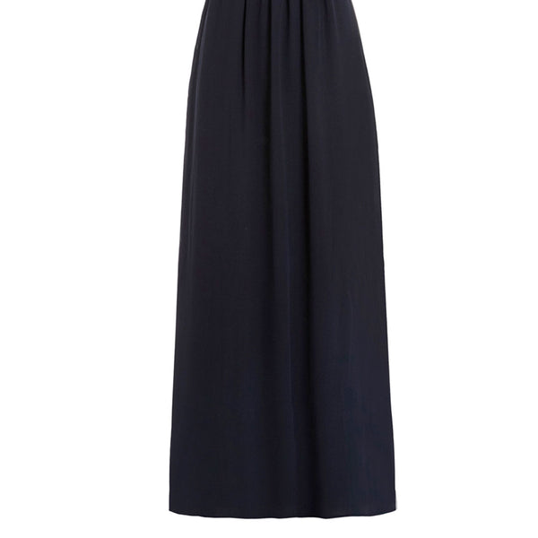 Elise Ryan One-Shoulder Maxi Dress With Floral Trim In Navy