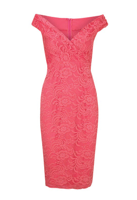 Lipstick Boutique Jessica Wright Sallie Lace Bardot Dress In Coral