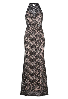 Lipstick Boutique Jessica Wright Sandiya Lace Maxi Dress In Black And Nude