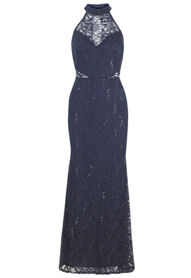 Lipstick Boutique Jessica Wright Sandy Sequin Lace Maxi Dress In Navy